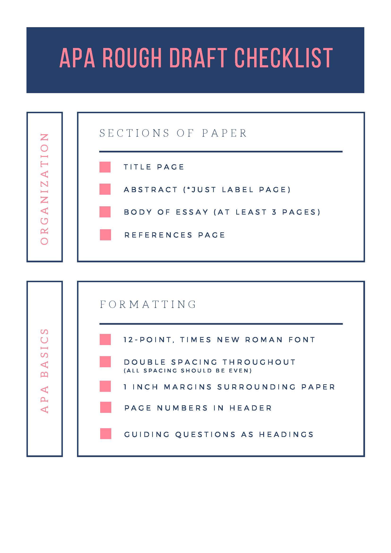 APA Rough Draft Checklist page 1